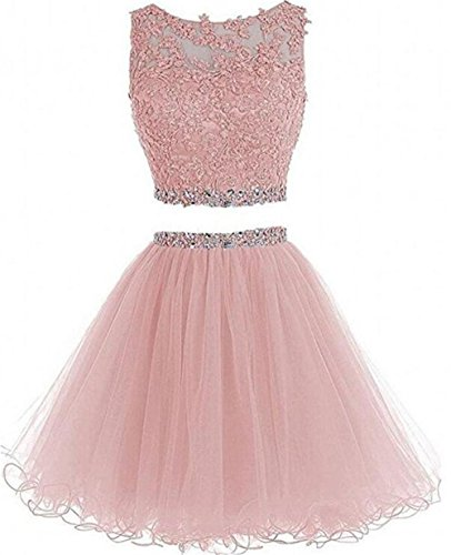 omecoming Dress Short for Juniors 2019 Party Dresses 2 Piece Tulle D127 Blush 2 ()