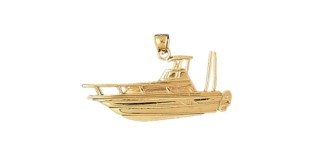 14k Yellow Gold Yatch Pendant 38mm x 20mm