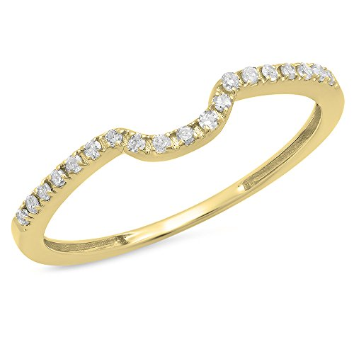 Dazzlingrock Collection 0.11 Carat (ctw) 14K Round White Diamond Ladies Anniversary Band Guard Ring, Yellow Gold, Size 7 ()