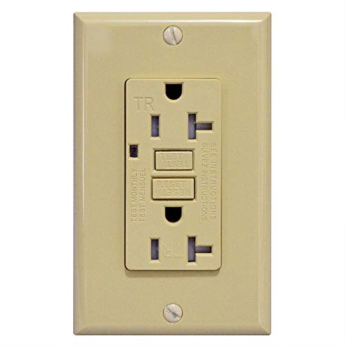 - GFCI 20A Tamper Resistant Duplex Receptacle Standard Decorative Outlet with LED Indicator, Ground Fault Circuit Interrupter, Decorative Wallplate, Safelock Protection, UL Listed, Ivory (1-Pack)