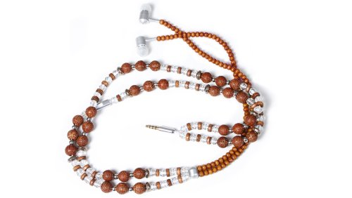 handcandy HF002BD THE SAMSARA LadyBuds Stereo Headphone Necklace, Natural Wood Brown/Clear/Silver Beads, Best Gadgets