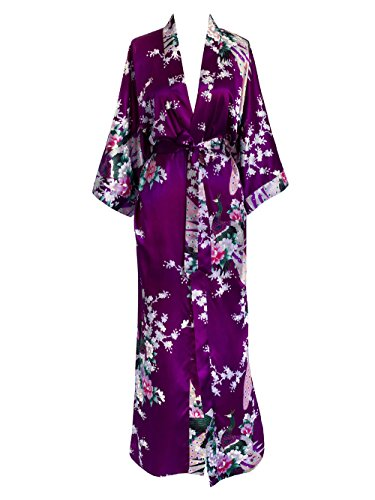 (Old Shanghai Women's Kimono Long Robe - Peacock & Blossoms - Plum (on-seam pocket) )