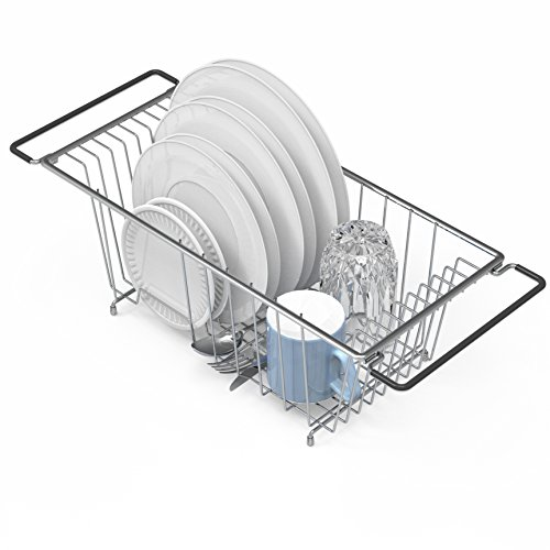 - Over the Kitchen Sink Dish Drainer Drying Rack, Chrome