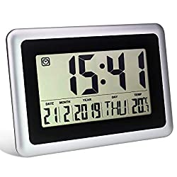 Digital Alarm Clock, HIPPIH Large LCD Electronic Wall Clock, Desktop Clock with Temperature and Calendar - Perfect for Bedroom/Office/School, Battery Operated