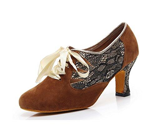 Femme Brown Minitoo De Salon qj7157 7 Cm Danse Minitoouk Heel qXxYXv