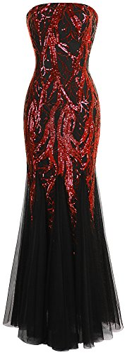 's Sequin Strapless Paillette Tree Branch Tulle Mermaid Evening Dress (XL, Red Black) ()