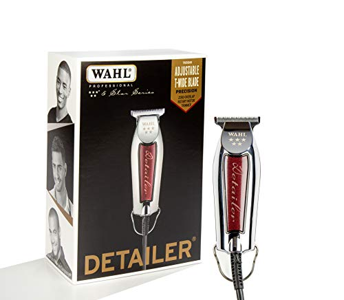 (Wahl Professional Series Detailer #8081 - With Adjustable T-Blade, 3 Trimming Guides (1/16 inch - 1/4 inch), Red Blade Guard, Oil, Cleaning Brush and Operating Instructions, 5-Inch)
