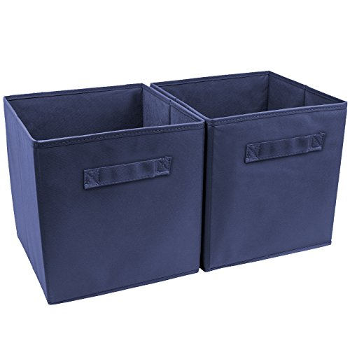 Sorbus Foldable Storage Cube Basket Bin (2 Pack, Navy Blue) Fabric Folding Bin