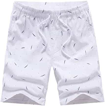 310e14f5a Allywit Men s Fashion Casual Printing Patchwork Beach Surfing Swimming  Loose Short Pants Big and Tall Dark