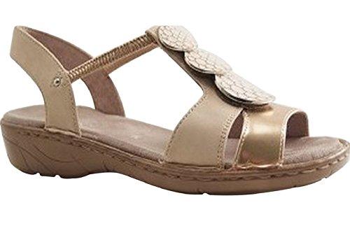 Jenny Damen Korsika T-Spangen Sandalen Gold (Rosegold,plush)