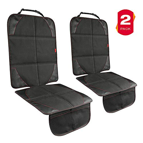 YOOFAN Car Seat Protector- 2 Pack Car Seat Protector for Child Car Seat, Non-Slip Fabric Seat Protector Under Car Seat, Car Seat Cover with Soft& Thickened Pad, 2 Storage Mesh Pockets (Black)