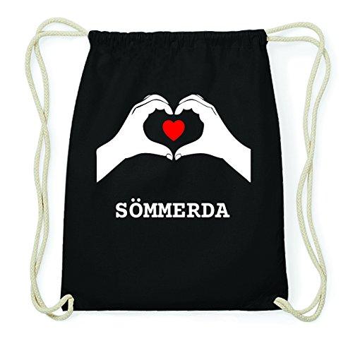 JOllify SÖMMERDA Hipster Turnbeutel Tasche Rucksack aus Baumwolle - Farbe: schwarz Design: Hände Herz zVb1fP59