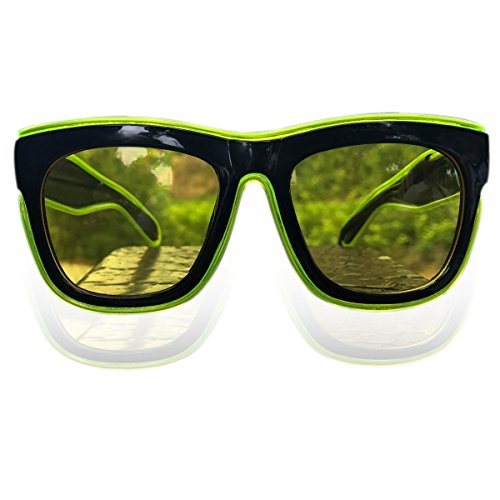 RaveLife HD Night Driving Glasses Yellow Lens Safety Night Vision Sunglasses for Party Light Up Glasses(Lime - Used Celebrities Sunglasses By