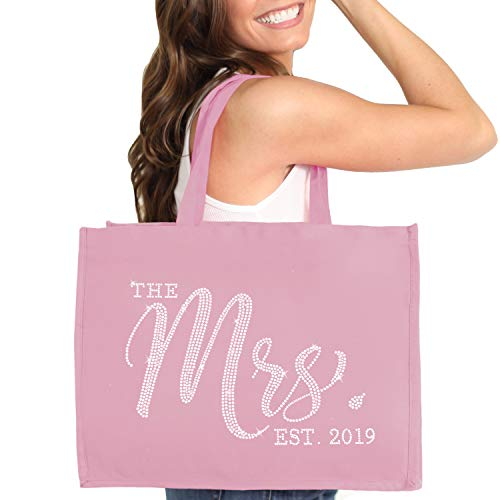 Bride Tote Mrs. 2019 - Crystal CHIC The Mrs. Est. 2019 Tote Bag - Bride To Be Gift - Dusty Blush Pink Tote(Chic 2019 RS) DBP (Best Tote Bags 2019)