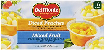 Del Monte Mixed Fruit/Peaches Snack Cup, 16 cups, Net Wt 4 Pound