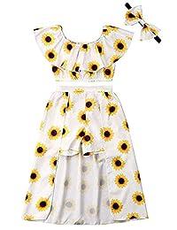 SUPEYA Toddler Baby Girls Ruffled Sunflower Outfits Tops+Shorts Skirt 2Pcs Set