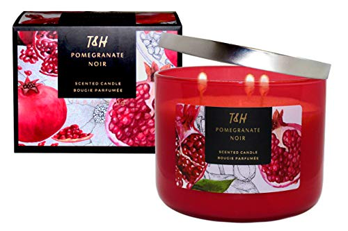 T&H Stress Relief Aromatherapy Candles All Natural Soy Wax and Essential Oils Long Lasting 16 Ounce 80 Hour Burn (Pomegranate Noir) ()