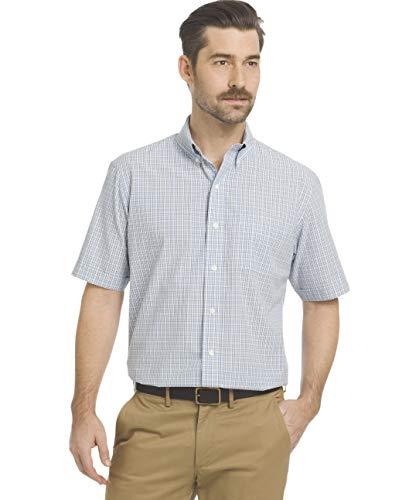 Arrow 1851 Men's Hamilton Poplins Short Sleeve Button Down Plaid Shirt, Blue Skyway, Large