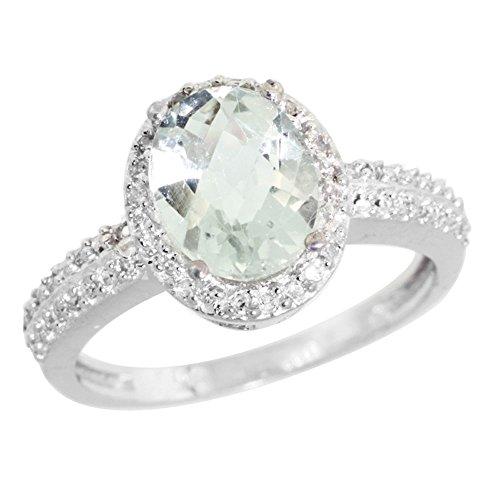 Revoni - Bague Femme - Or blanc 585/1000 (14 carats) - Diamant et Améthyste verte 1.76 ct - T. 49 à 62