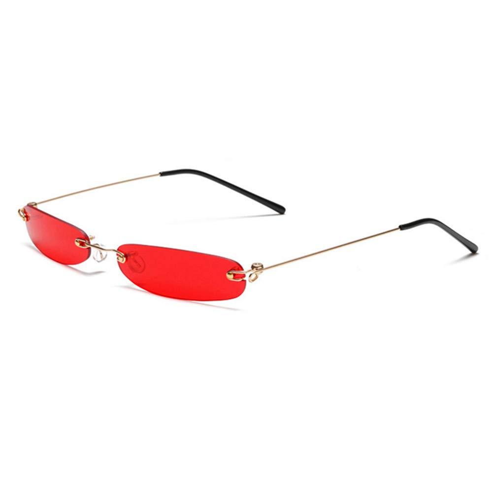 Narrow Rectangle Sunglasses Women Tiny Rimless Sun Glasses For Men Frameless
