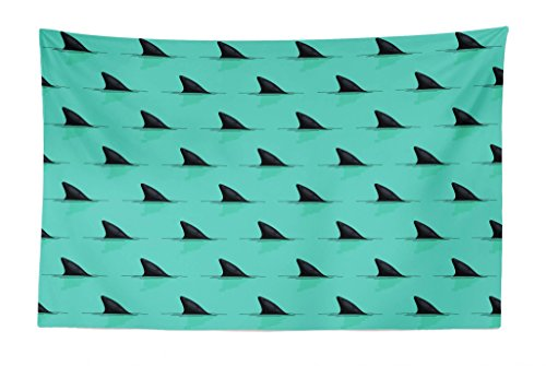 Lunarable Marine Tapestry, Shark Fins in The Sea Danger in Ocean Scary Creature Swimming Illustration, Fabric Wall Hanging Decor for Bedroom Living Room Dorm, 45