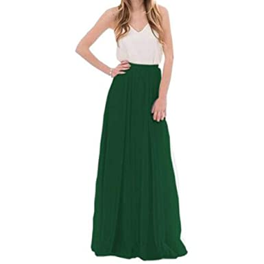 BIXIANGJI Falda larga de mujer, faldas de tul de encaje de dama de ...