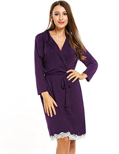 Onbay Women 3/4 Sleeve Sleepwear Robe Kimono Style Cotton Lightweight Lace-trim Bathrobe with Belt