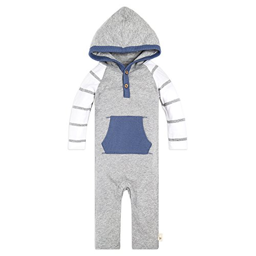Burt's Bees Baby Baby Boys' Romper Jumpsuit, 100% Organic Cotton One-Piece Coverall, Heather Grey Varied Stripe Hooded, 6-9 Months