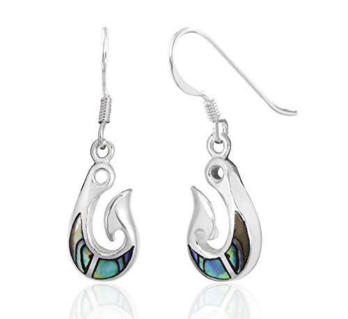 (Sterling Silver Abalone Paua Shell Fish Hook Dangle Hook Earrings)