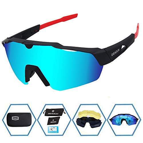 (GIEADUN Sports Sunglasses Protection Cycling Glasses with 4 Interchangeable Lenses Polarized UV400 for Cycling, Baseball,Fishing, Ski Running,Golf (Black/Red))