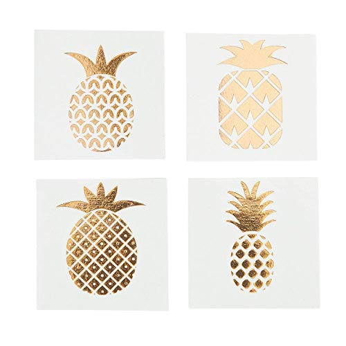- Fun Express Pineapple Gold Foil Tattoo Assortment (72 Pcs) Stylish Shine Sparkle, multi-colored, One Size