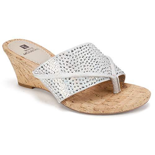 WHITE MOUNTAIN Women's Alexandria Sandal, Silver/met/Glitter/Fabric, 6.5 M US ()