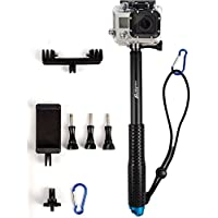 ProsPole Extendable Pole an Aluminium Telescopic Monopod Extension & adjustable Selfie Stick for Gopro Hero 4 Session Black Silver Hero 2 3 3+ 4 and other Action Cameras (Blue 37)