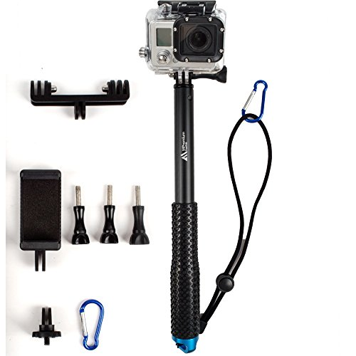 ProsPole Extendable Pole an Aluminium Telescopic Monopod Extension & adjustable Selfie Stick for Gopro Hero 4 Session Black Silver Hero 2 3 3+ 4 and other Action Cameras (Blue 37')