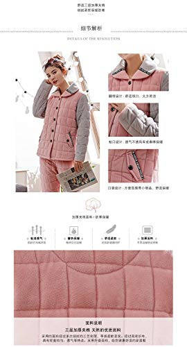Suit 162cm 50kg Hooded Women's Cute Long Velvet Coral Winter 30 layer Pajamas Pajamasx Home M150 Cotton Three Service Thick sleeved gHxZnB