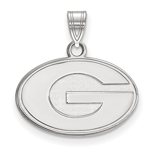 3/8 Inch Silver Logo Charm - University of Georgia Bulldogs Logo Pendant Charm (sterling silver, extra small)