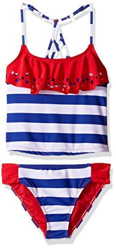 Price comparison product image YMI Big Girls' Stars N Sripes Two Piece Lazer Cut Flounce Tankini Swimsuit, True Red, 7/8