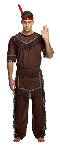 Rimi Hanger Mens Native American Red Indian Warrior Costume Adults Fancy Dress Cow Boy Outfit One Size (Cowboy Outfits For Mens)