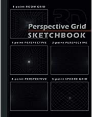 "Perspective Grid Sketchbook: 1-Point Room, 1-Point, 2-Point, 3-Point and 5-Point Sphere Perspective Grid - 170 Pages - 8.5""x11"" Practice Workbook"