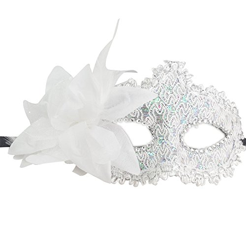 Ladies Carnival Masquerade Ball Mask Mysterious Lace Party Fancy Masks (White) (Ideas For Masquerade Masks)