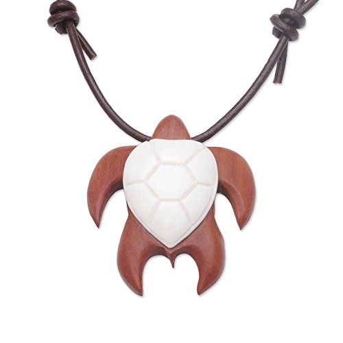 (NOVICA Cow Bone, Leather and Wood Pendant Necklace, 18