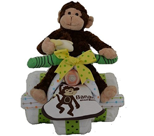 Diaper Cake - Monkey Theme Diaper Tricycle - Gift for Baby Boy/ Baby Girl / Gender Neutral - Makes a Great Baby Shower (Monkey Diaper Cake)