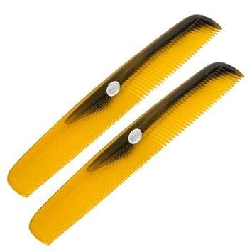 eDealMax plástico fino de dientes anchos Peluquería Cuidado del Cabello de Corte peine 2pcs Brown Para