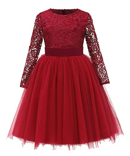 Flower Girl Dress Long Sleeves Lace Top Tulle Skirt Kids First Communion Gowns (Size 10, Burgundy)