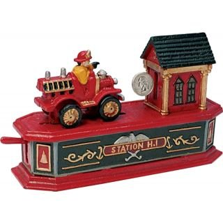 Antique Toys Fire Engine - Bits and Pieces - Fire Engine Bank - Collectible Cast Iron Mechanical Bank