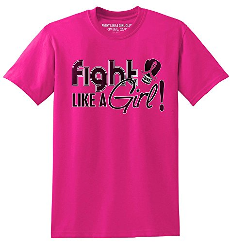 Cancer Womens Pink T-shirt Survivor (Fight Like a Girl Signature Breast Cancer Awareness Unisex T-Shirt - Hot Pink [S])
