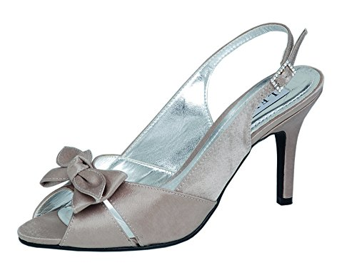 Textile with and Taupe High Bridal Lexus Sandal Diamante Bow Heel Buckle Ladies pqaFYwZ
