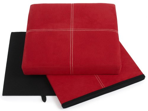 FHE Group Microsuede Folding Storage Ottoman, 15 by 15 by 15 Inches, Red