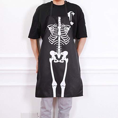 Pumsun Kitchen Cosplay Horror Chef Halloween Skeleton Apron Costume Party Supplies (Black) -