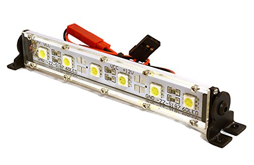 Integy RC Model Hop-ups C26700SILVER Realistic Roof Top SMD LED Light Bar 123x17x21mm for 1/10 Scale Crawler